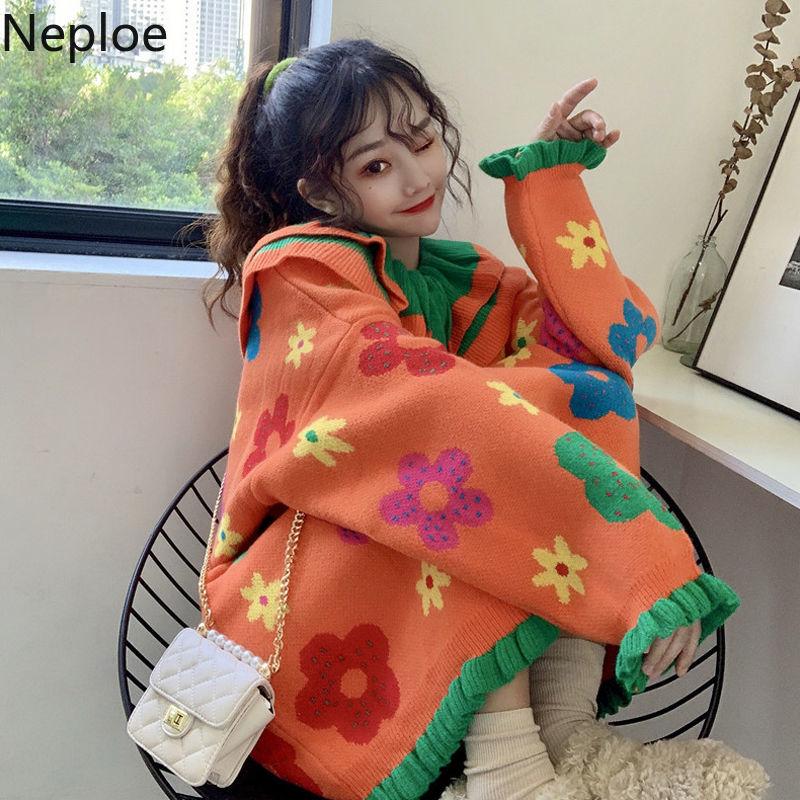 Neploe/осенне зимний вязаный свитер с кукольным воротником и цветочным принтом Ins Conteast, цветной лоскутный свитер с длинными рукавами, Pull Femme, новинка 48206|Водолазки|   | АлиЭкспресс