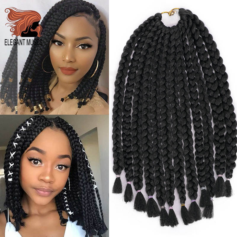 ELEGANT MUSES Crochet Braids Hair Box Braids Synthetic Hair Goddess Locks Crochet Hair Extensions 10 Color Available