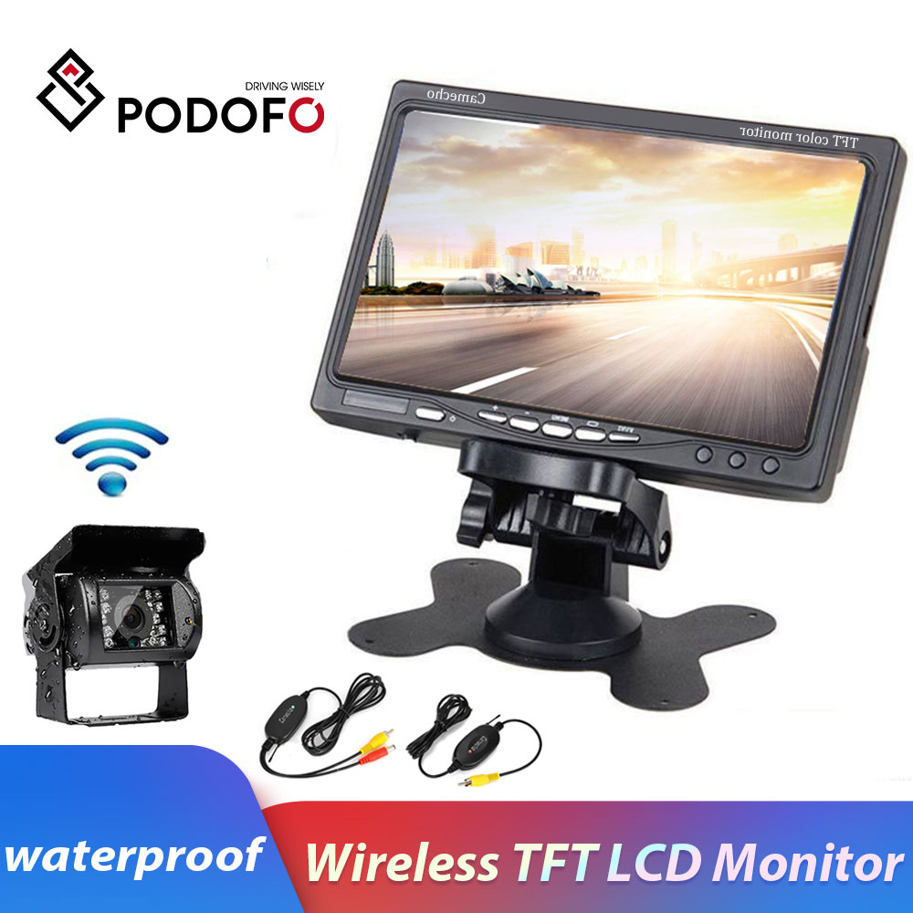 Podofo 12V 24V Wireless Car Rear View Backup Camera IR Night Vision Kit 7 TFT LCD