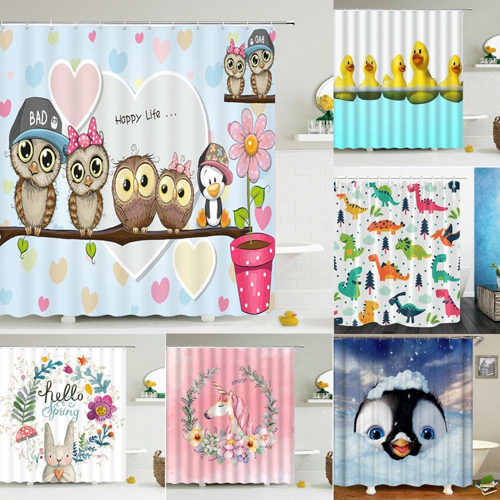 Милые занавески для душа с рисунком совы, ванная комната, водонепроницаемая занавеска для душа, полиэстер, милая детская 3D печать, домашняя ...