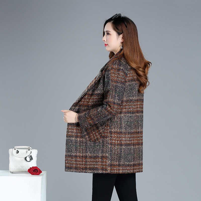 Шерстяные женские зимние пальто 2019 плюс размер XL ~ 5XL повседневная женская верхняя одежда пальто винтажная клетчатая ветровка Женское пальто и куртка