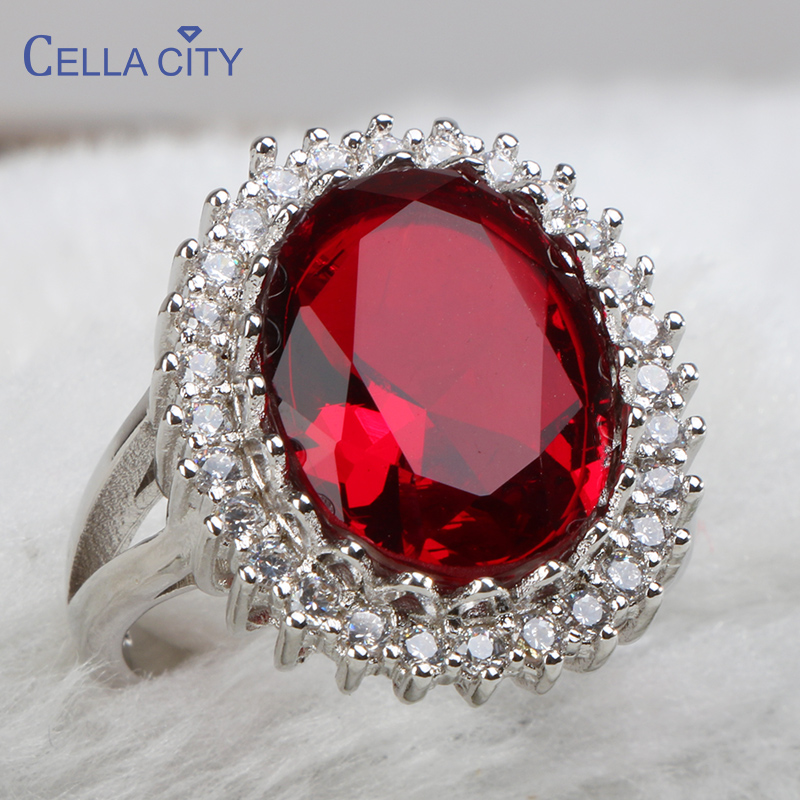 Cellacity Silver 925 Jewelry Geometry Ruby Ring For Women Large Oval Gemstones Accessory Trendy Anniversary Gifts Size6,7,8,9,10