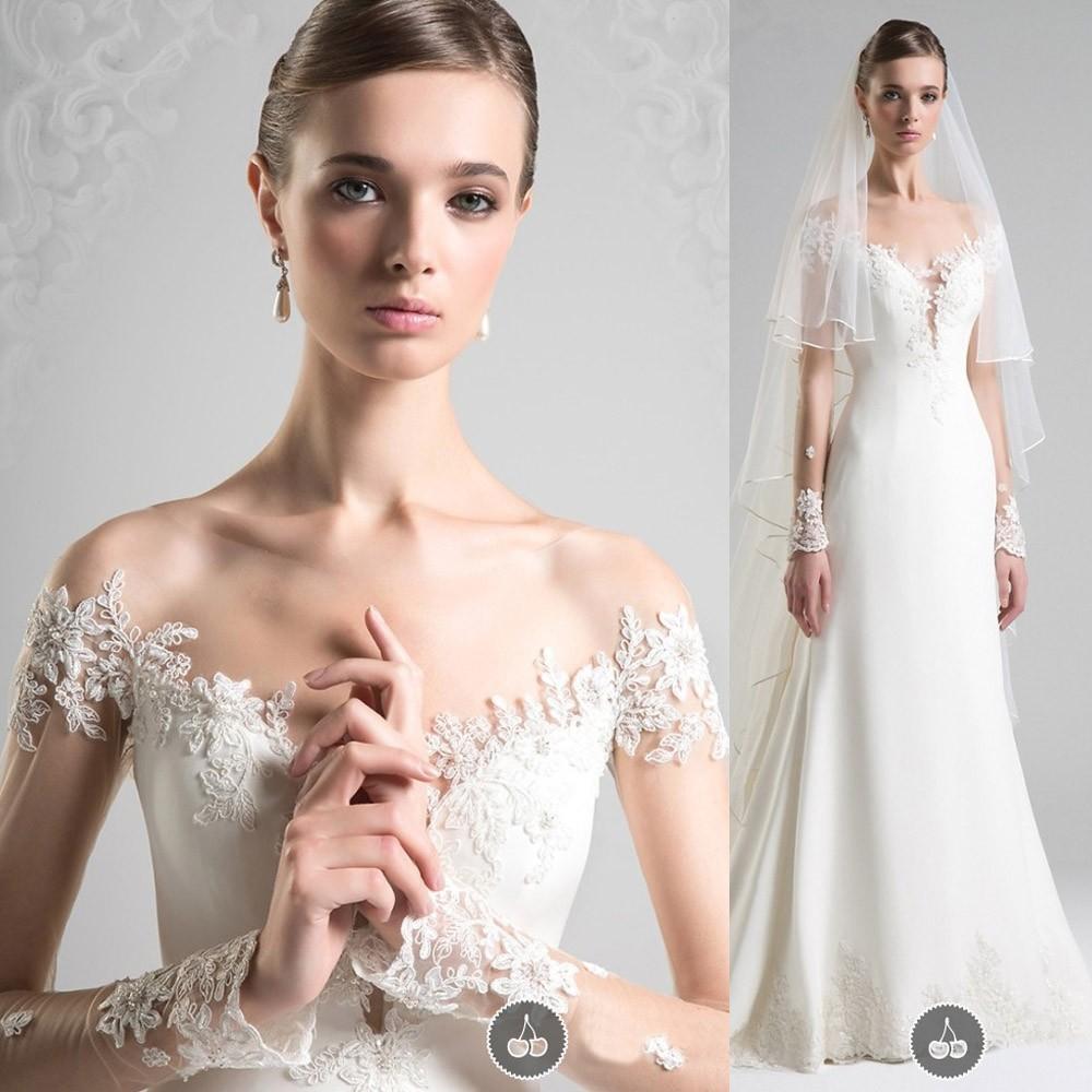 Vestido De Noiva 2019 Cheap Simple Lace Appliques Long Sleeves Wedding Dress Bridal Dresses Corset Back Bandage Robe De Mariee