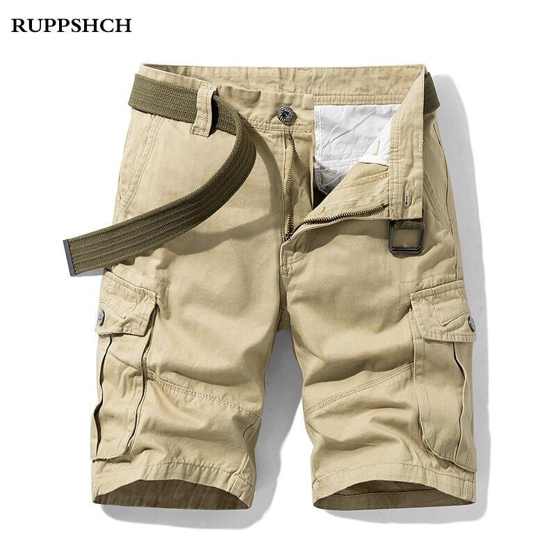 Шорты-карго мужские из чистого хлопка, повседневные модные однотонные штаны, уличная одежда, лето 2021