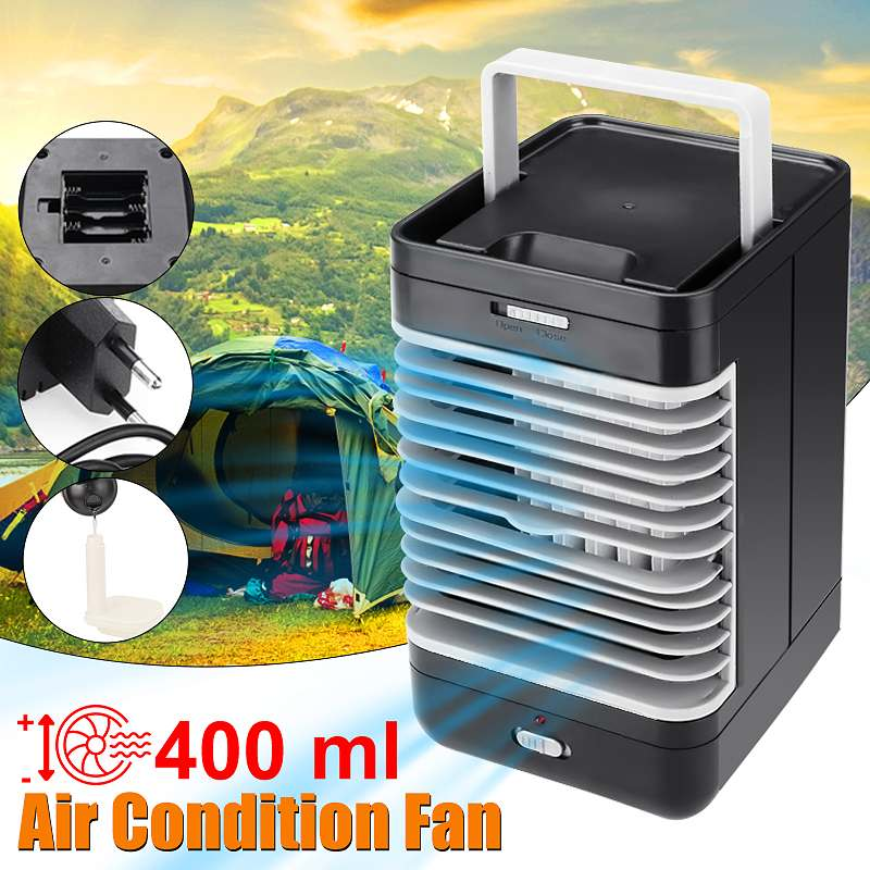 AC220V <font><b>Mini</b></font> <font><b>Portable</b></font> <font><b>Air</b></font> Conditioner Humidifier Purifier Desktop Cooling Fan <font><b>Air</b></font> <font><b>Cooler</b></font> Black Fan for Camping Outdoor Activities image