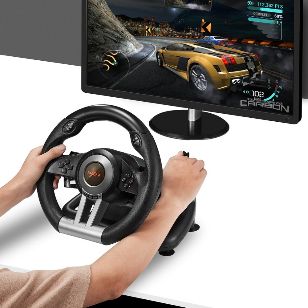 PXN V3II Racing Game Steering Wheel with Brake Pedal for PC/PS3/PS4/SWITCH image