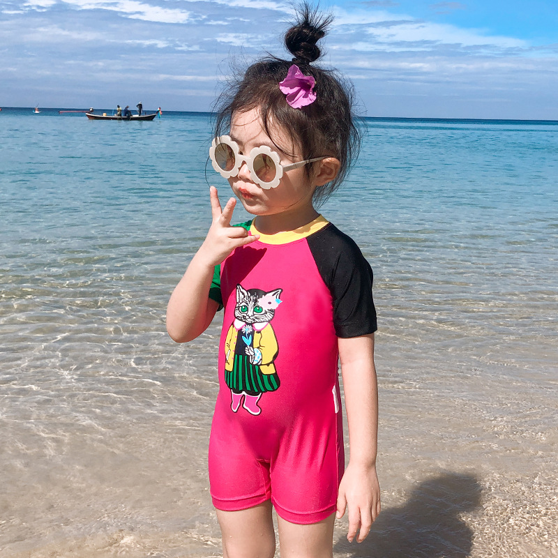 2019 New Style Baby GIRL'S Women's Small CHILDREN'S Pin Se Xiu One-piece Swimming Suit Cartoon Cat Boxer Swimwear Holiday Hot Sp