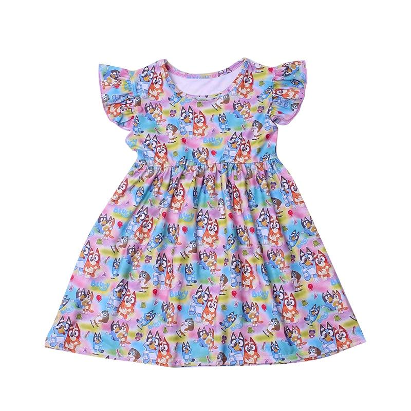 New Fashion Girls Dress Puffy Sleeve Kids Cartoon Clothing Soft Milksilk Children Birthday Party Dress Wholesales 12M to 7T 1