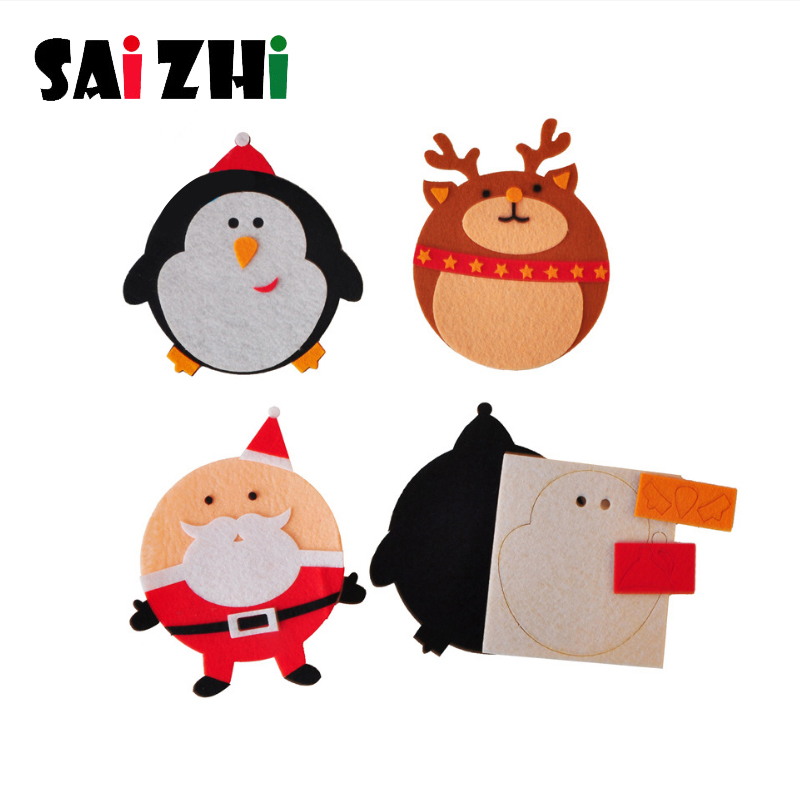 Saizhi Diy Christmas Dining Table Coaster Handmade Cartoon Fabric Cup Pad Felt DIY Material Package Kid Early Learning Gift Toys