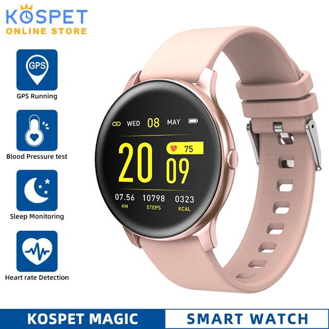 KOSPET ماجيك النساء ساعة ذكية الرجال رصد معدل ضربات القلب الدم الأكسجين اللياقة البدنية المقتفي KW19 Smartwatch للهاتف IOS أندرويد شاومي