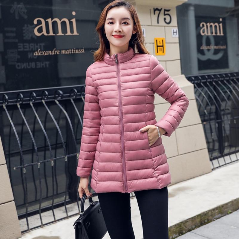 Solid Ultra Light Long Down Coats Women Fashion Long Sleeve Slim Warm Down Jacket Female Casual Zipper Plus Size Parka Outwears