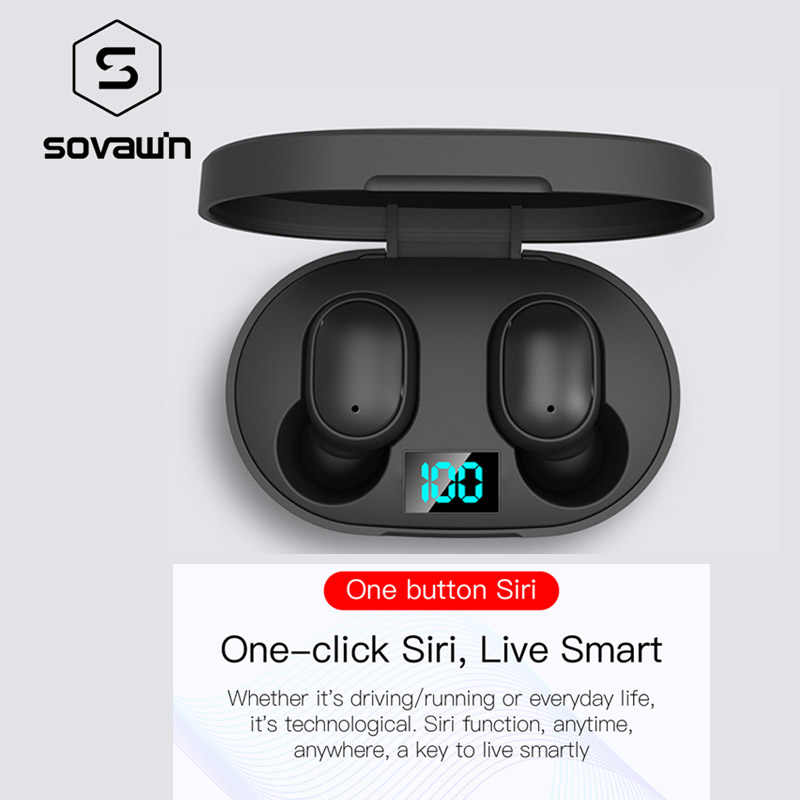 Sovawin HD สเตอริโอไร้สาย TWS หูฟังไร้สายบลูทูธหูฟัง 280MAH กรณีชาร์จจอแสดงผล LED