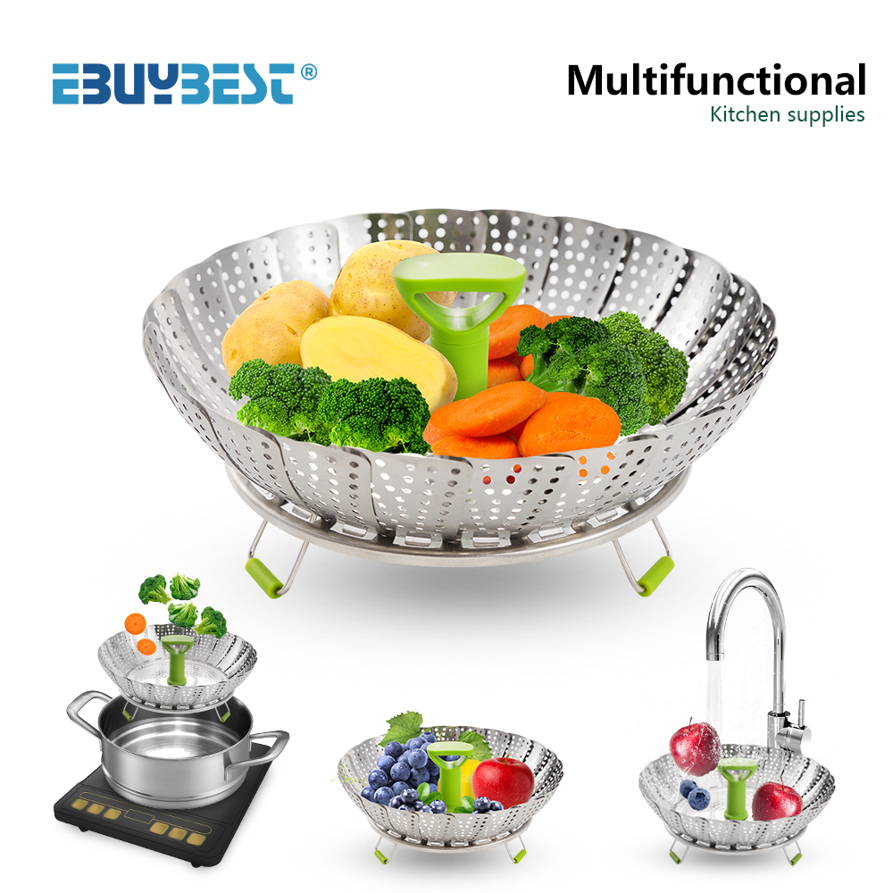 Multifunctional Telescopic Instant Pot Steam Basket Stainless Steel Steam Kitchen Food Steamer Fruit Vegetable Steamer Rack