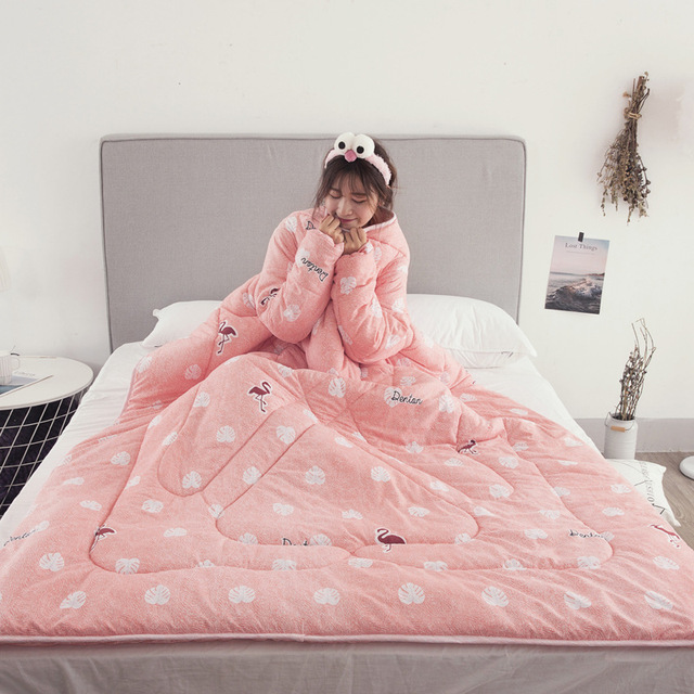 Winter Comforters Lazy Quilt with Sleeves Family Throw Blanket Hoodie Cape Cloak Nap Blanket Dormitory Mantle Covered Blanket 2