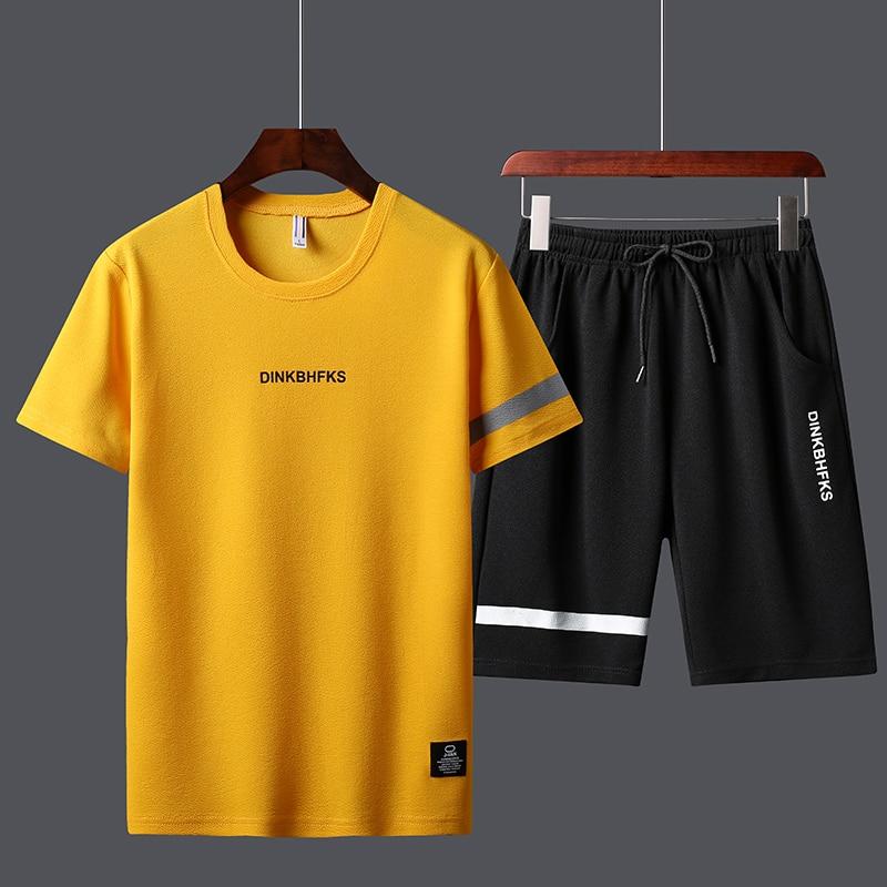 Summer Men's Sport Track Suits Tshirts Shorts Sets Polyester Fashioin Tracksuits T-shirt  Bermuda Masculina Board Shorts Printed