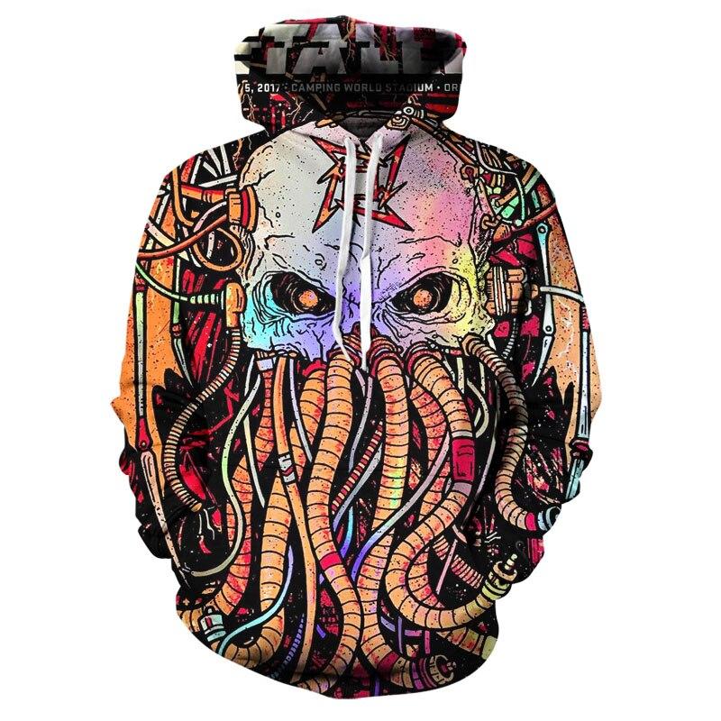 2020 New Hot 3D Printing Color Hoodie Men's Heavy Metal Death Skull Hoodie Casual Plaid Street Style Top Xxs-6xl