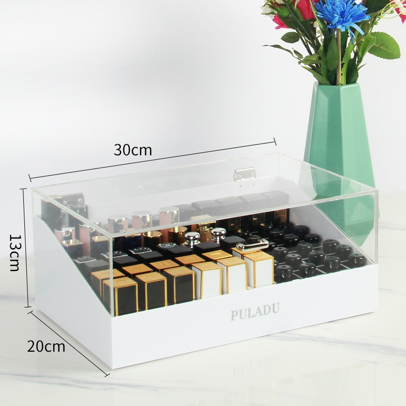 European Lipstick Storage Box With Cover 70 Dustproof Finishing Boxes Acrylic Desktop Dormitory Cosmetics Shelf