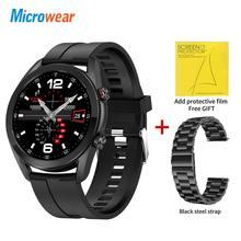 2021 microfones l19 relógio inteligente homem chamada bluetooth ecg ppg ip68 à prova dmicrowágua toque completo rastreador de fitness vs l15 l16 gts smartwatch