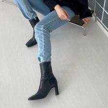Зимние женские кожаные ботильоны на высоком каблуке с квадратным