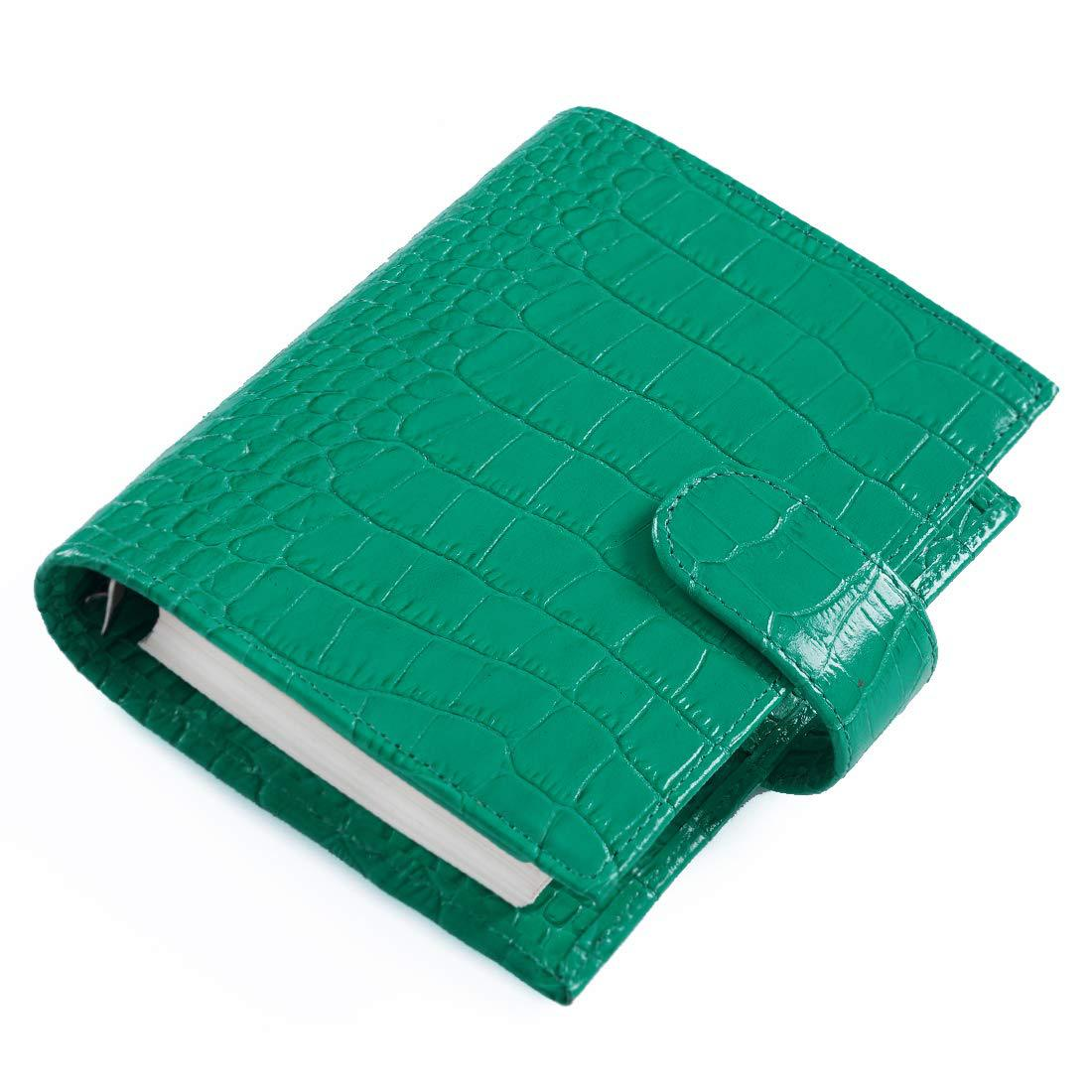 Mint Green Genuine Leather A7 Spiral Journal Lined Paper 96 Sheets