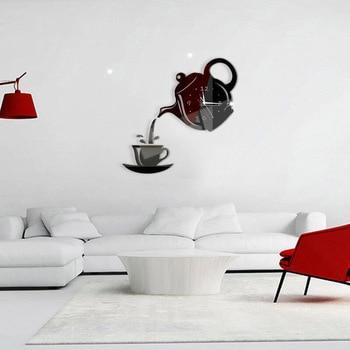 3D Acrylic Mirror Wall Clock Creative DIY Coffee Cup Teapot Wall Clock Home Living Room Decorative Self-adhesive Wall Clocks 9