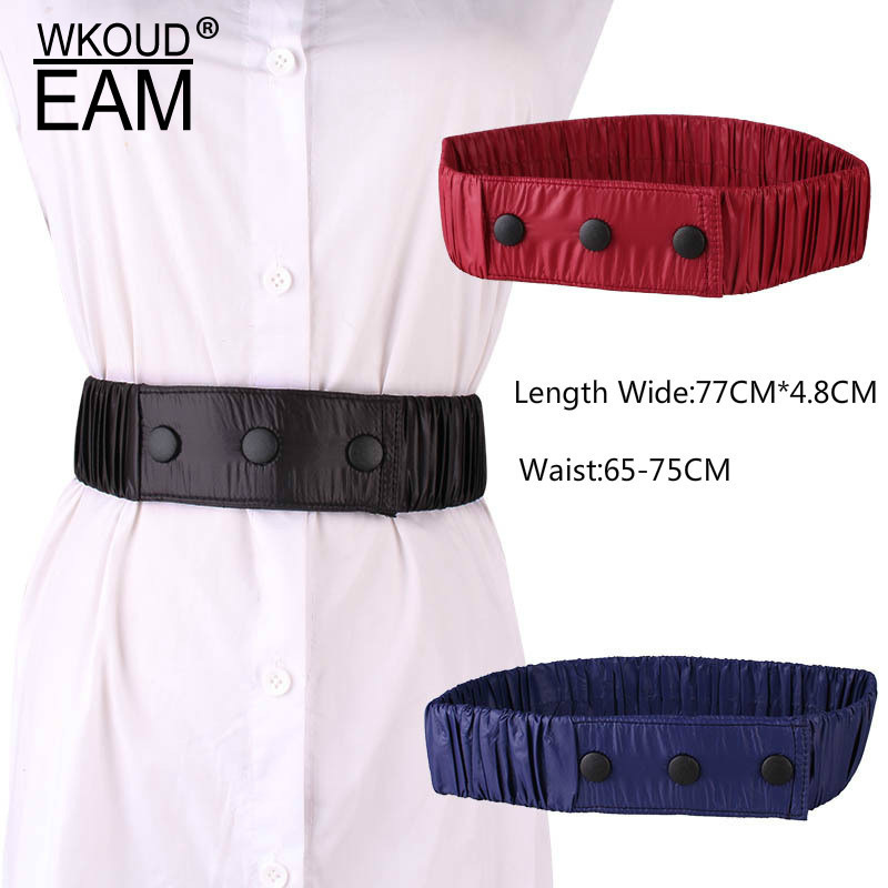 WKOUD EAM 2020 New Simple Fashion Pleated Wide Waistband Women Press Buckle Accessory Elastic Belt Lady Tide PE285