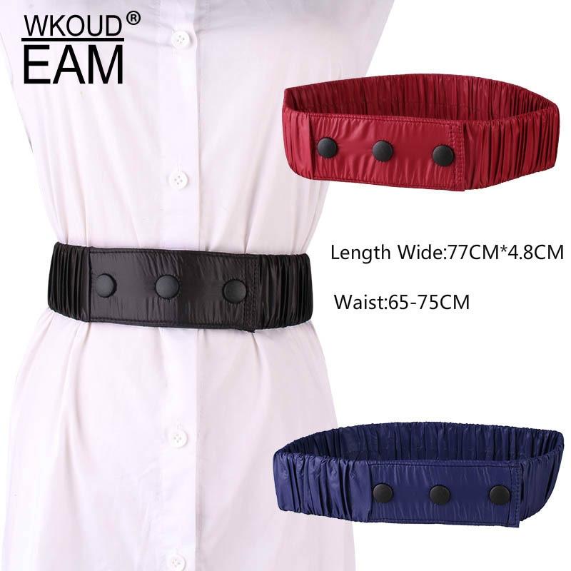 WKOUD EAM 2020 New Simple Fashion Pleated Wide Waistband Women Press Buckle Accessory Elastic Belt Lady Tide PE285