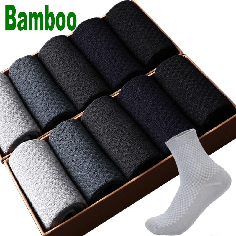10 Pairs/Lot Men Bamboo Fiber Socks Men Compression Summer Long Socks Business Casual Mens Dress Sock Gifts Plus Size 43-46 New