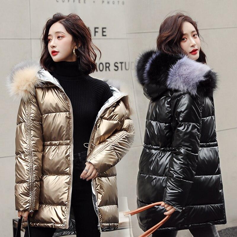 Women Winter Coat Glossy Female Jackets Thick Warm Parkas Large Fur Slim Snow Wear Coats Waterproof Wadded Jacket Orwindny