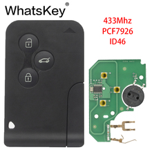 WhatsKey 3 Button Remote Smart Car Key 433Mhz ID46 PCF7926 Chip For Renault II Grand Scenic Megane 2 3 Card Key 5pcs lot high quality renault megane card key renault megane 3 button remote key with 433mhz with id46 chip