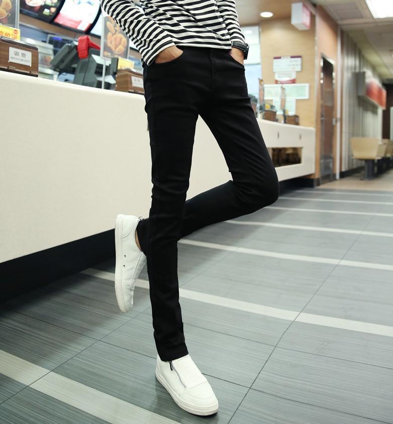 Summer Men Korean-style Slim Fit Jeans Men's Thin Elasticity Jeans Skinny Pants Fashionable Men Black Trousers Do Not Fade