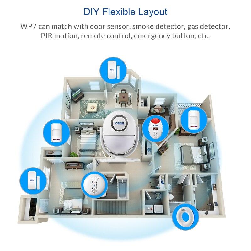 KERUI WP7 PIR Motion Sensor Security Alarm Detector Anti-theft Sensor Motion Detector Welcome Doorbell Human Body Detector