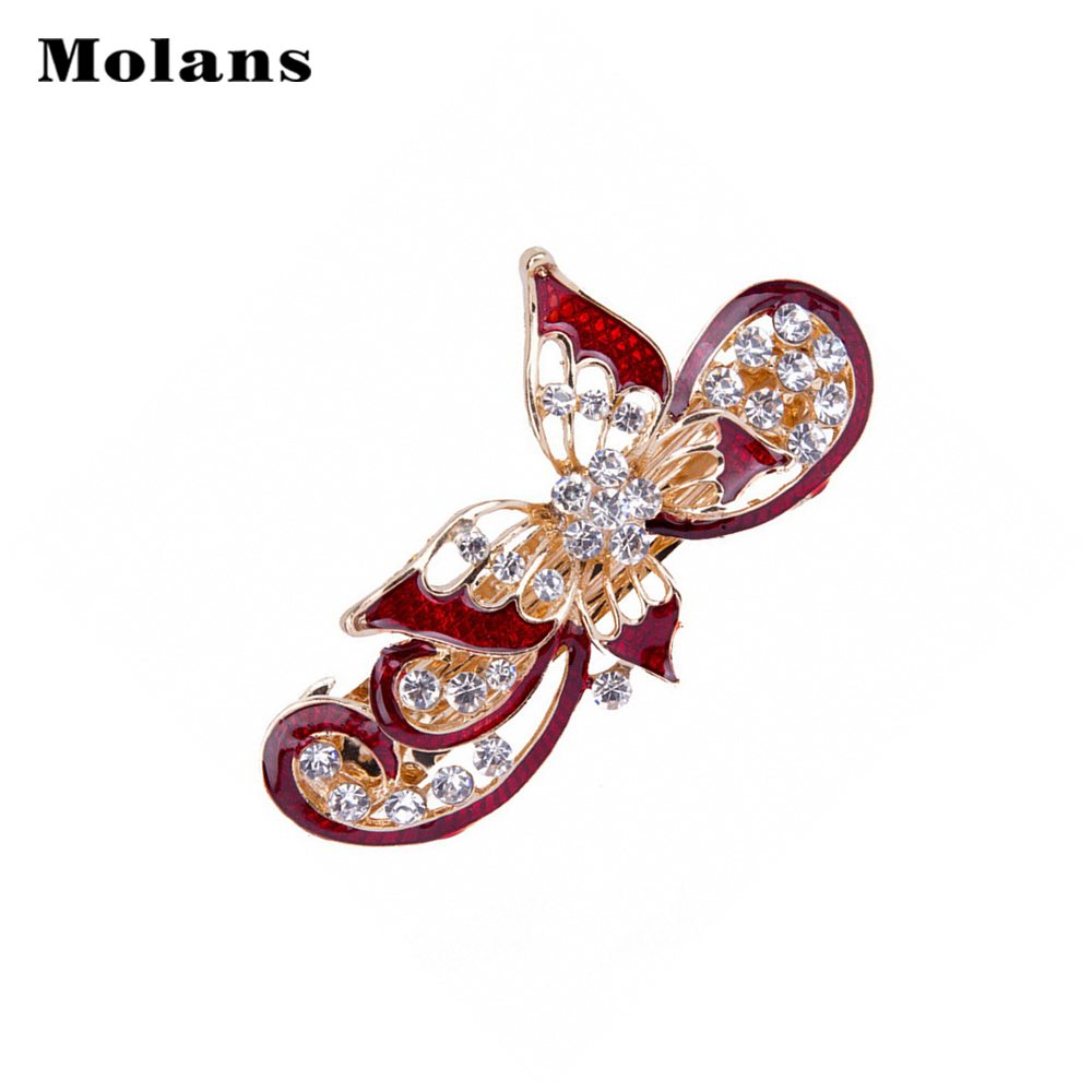 Molans Solid Color Butterfly Hairpin For Women Inlaid Artificial Diamond Head Clip Fixed Not Easy To Fall Off Spring Hair Bands