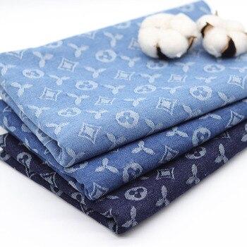 Vaqueros de algodón de Tela Jacquard para manualidades, materiales de ropa, azul,...