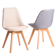 Nordic home dining chair modern minimalist solid wood desk chair leisure chair fabric to discuss chairs