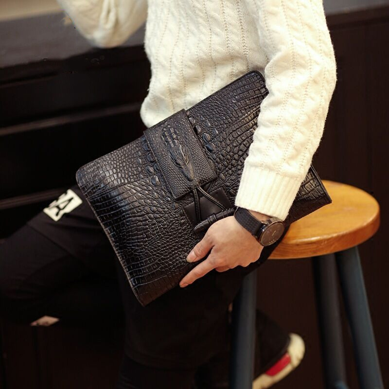 New Alligator Crocodile Leather Men Bag Clutch Business Casual Brand Envelope Clutch Bag Large Capacity Men Ipad Clutch Sac фото