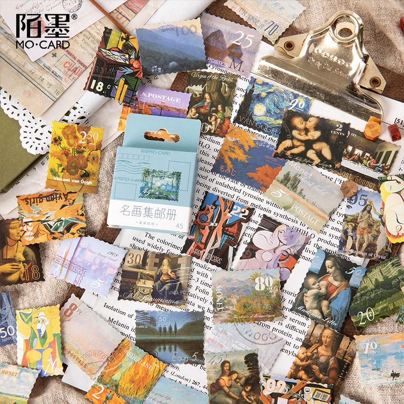 Mohamm 45 Pcs 44 Box Stickers Famous Paintings Philatelic Albums Creative Retro Hand Accounts Decoration General Sealing Sticker