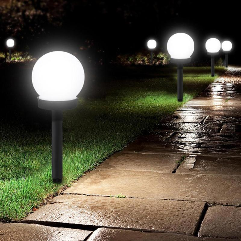 3pcs Waterproof LED Solar Round Bulb Lawn Lamps Spike Outdoor Garden Lights