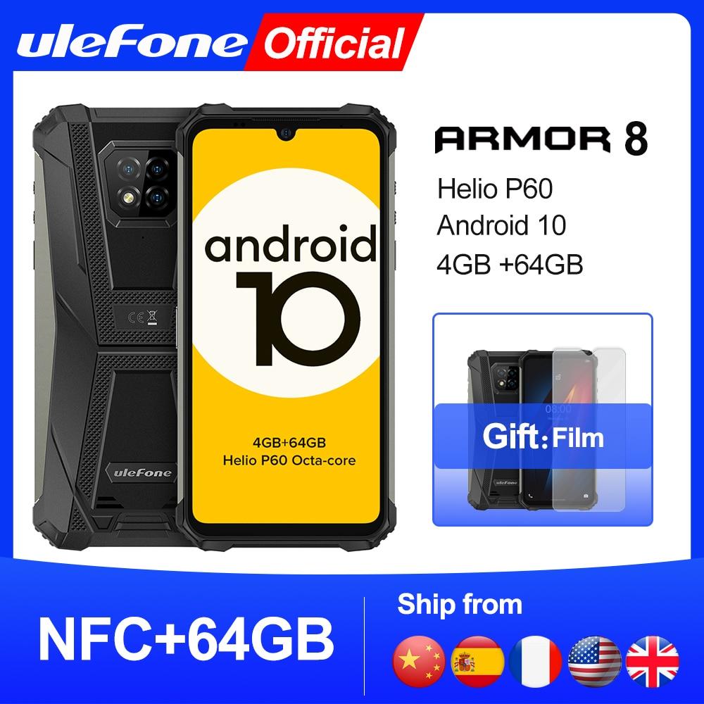 Ulefone Armor 8 Android 10 Смартфоны NFC Helio P60 4 Гб + 64 Гб мобильный телефон Octa-core 2,4 г/5G Wi-Fi 6,1 ''Водонепроницаемый смартфон