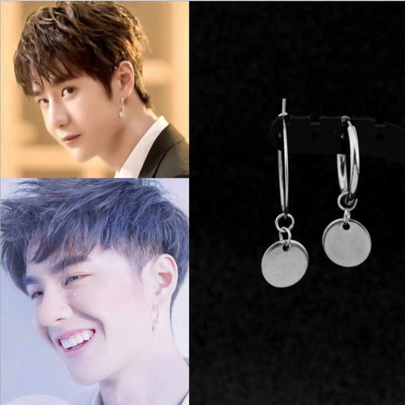 Kpop DNA Korea Bintang V Fashion Kecil Bulat Anting-Anting Anting-Anting Pria Asimetris Fashion Perhiasan Bulletproof Youth Group Anting-Anting