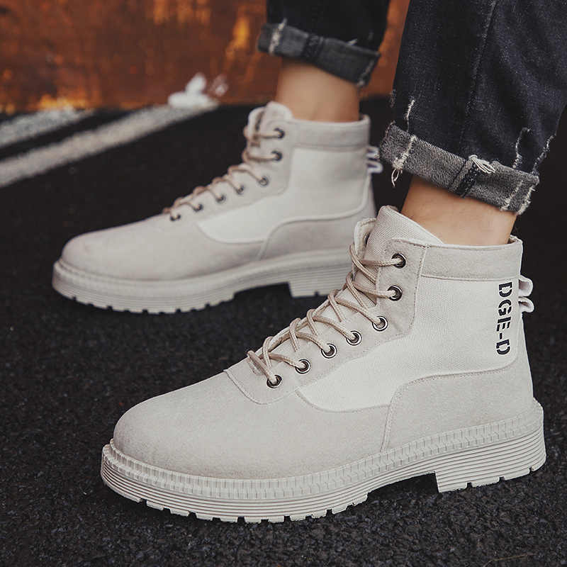 Männer Military Stiefel 2019 Outdoor Fashion Leinwand High Top Schuhe Männer Casual Schuhe Stiefeletten Schwarz Chelsea Stiefel Zapatos De hombre