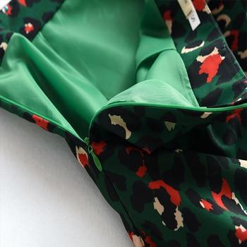 2020 Colorful Leopard Print Long Skirt Fashion Women Ladies Green High Waist Split A-line Maxi Skirt Female 4
