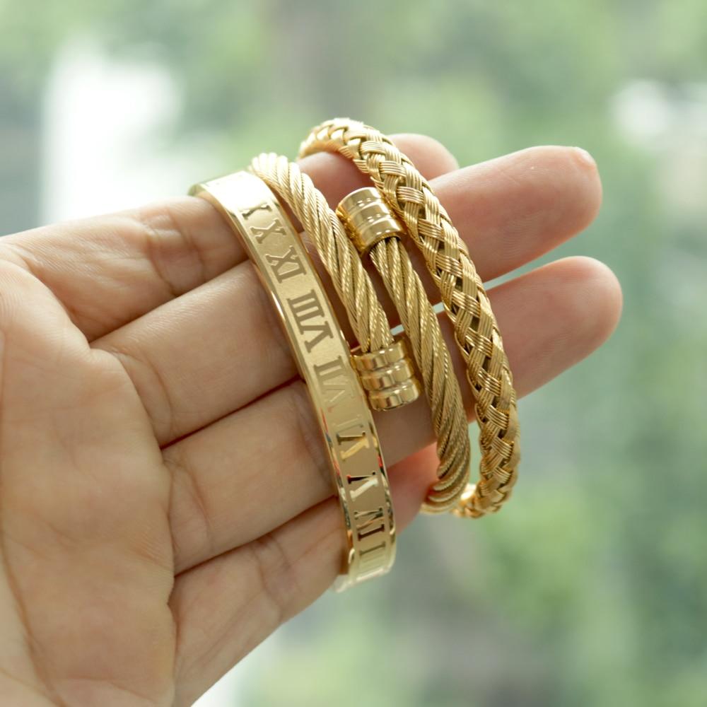 3pcs/Set Hot Men Titanium Steel Roman Numeral Bracelet Horseshoe Buckle Bangles Pulseira Bileklik Luxury Handmade Jewelry