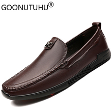 2019 new fashion men's shoes casual genuine leather male loafers classic brown black slip on shoe man flat driving shoes for men все цены