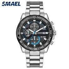 SMAEL hommes montres haut marque de luxe 2019 Quartz montres hommes en acier inoxydable ceinture bleu Sport montre bracelet mâle horloge 9089