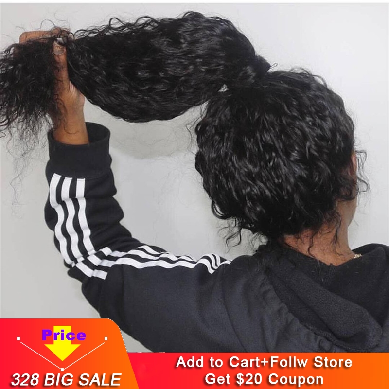 Water Wave Pre Plucked Glueless Full Lace Wig Human Hair Wigs With Baby Hair Curly Transparent Lace Peruvian Remy Bleached Knots