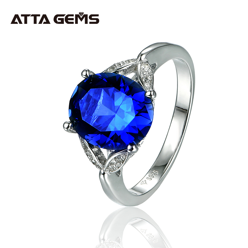 Blue Sapphire Sterling Silver Ring For Women Party  Wedding 5 Carats Created Sapphire Fashion Design Top Quality Sapphire Ring