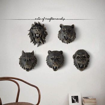 Bronze Resin King Kong Monkey Arctic wolf Head Statue 3D Wall Hanging Crafts Hotel Home Livingroom Wall Sticker Mural Ornaments