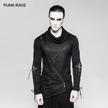 PUNK RAVE Mens Gothic Dark Decadent Asymmetric Hem Long Sleeve T shirt Punk Rock Handsome Personality Streetwear Men Tees Tops