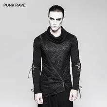 PUNK RAVE Mens Gothic Dark Decadent ไม่สมมาตร Hem แขนยาวเสื้อยืด Punk Rock หล่อบุคลิกภาพ Streetwear เสื้อ Tees Tops